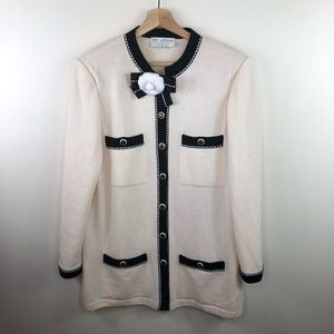 ST. JOHN Santana Button Cardigan with Brooch 14